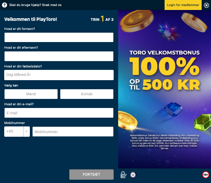 Anvend bonuskode hos PlayToro