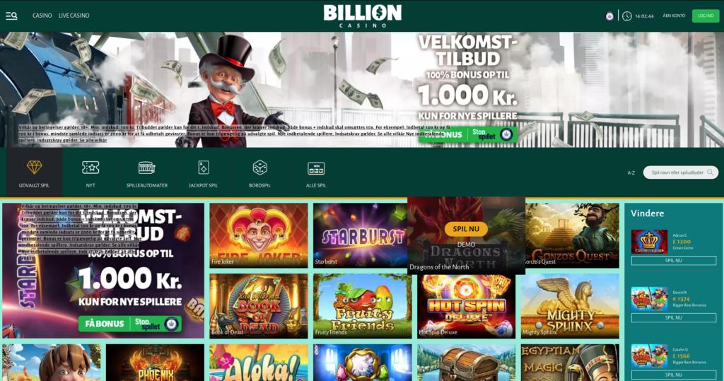 Billion Casino bonuskode forside