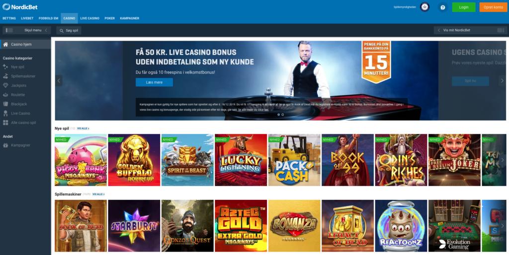 NordicBet Casino forside
