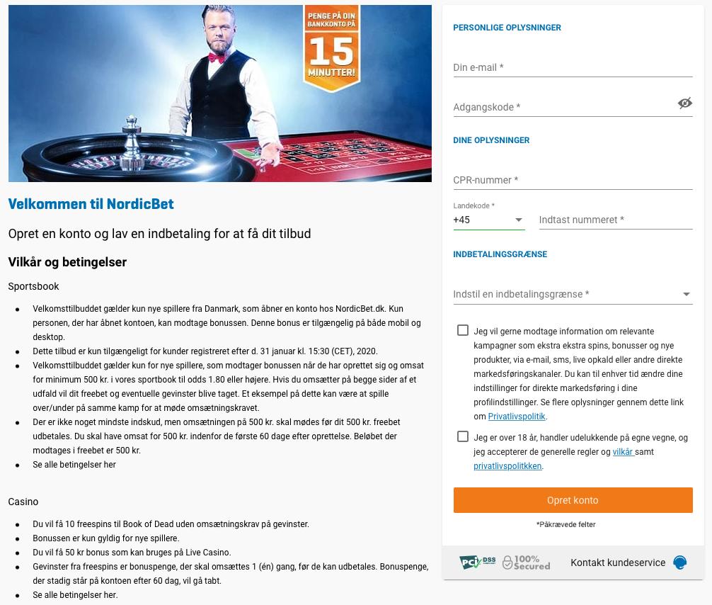 Opret en konto hos NordicBet Casino
