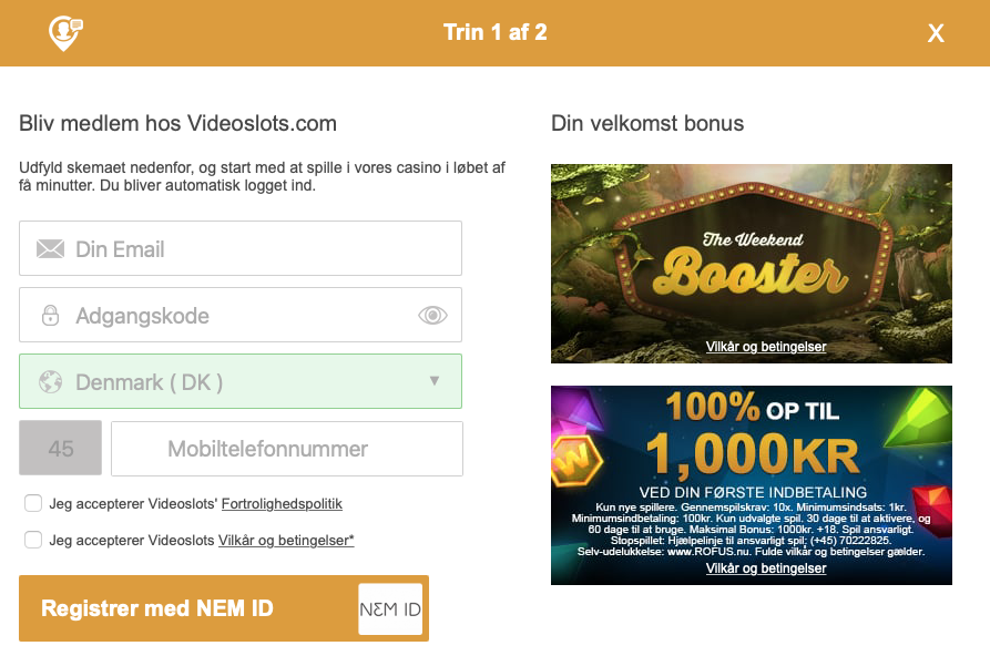 Opret en konto hos VideoSlots