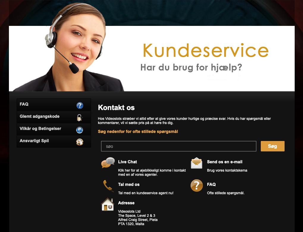 VideoSlots kontakt information