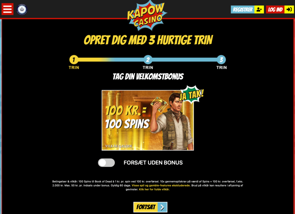 Kapow Casino oprettelse