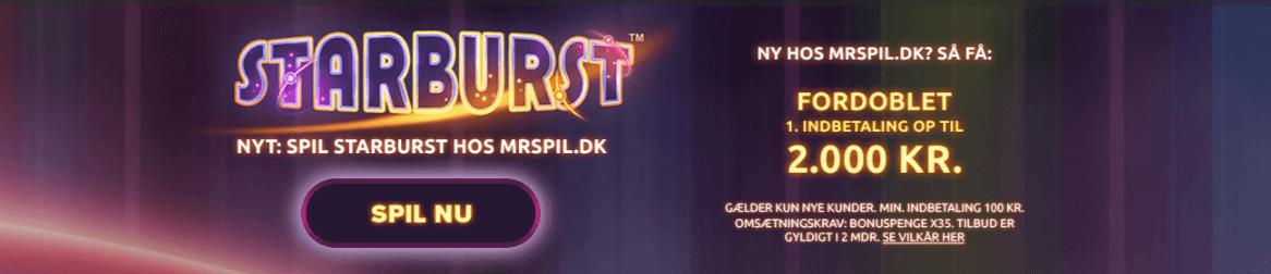 Mr Spil bonuskode til Starburst